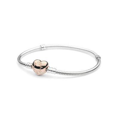 8bffe1a19fab Pulsera Pandora 580719-19 mujer plata corazón Rose