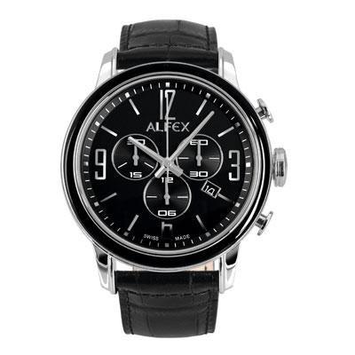 principal Reloj Alfex 5698-849 Hombre Negro Cronógrafo Cocodrilo