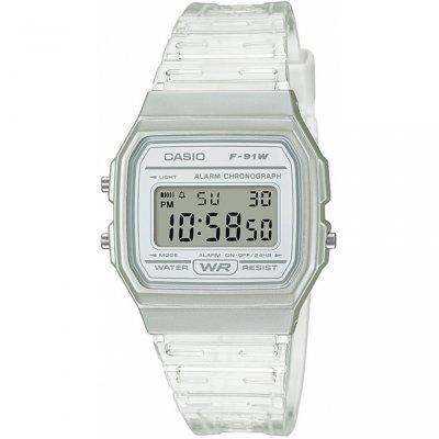 principal Reloj Casio F-91WS-7EF unisex  transparente silicona.