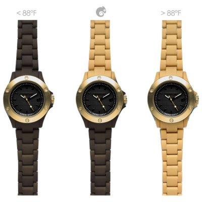 principal Reloj Kamawacht KWP12 Unisex Tecnología Térmica Marrón-Dorado